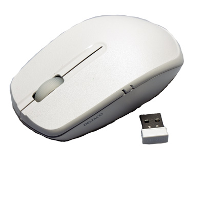 DELTACO trådlös optisk mus- vit