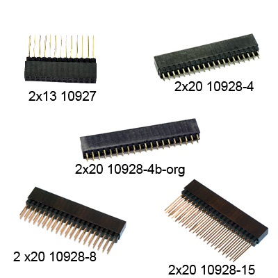 GPIO-kontakt hona/hane - bild på alla varianter