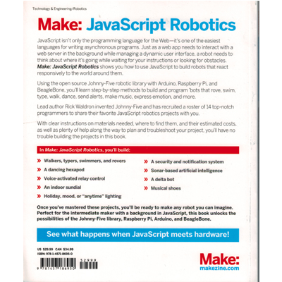 Make: JavaScript Robotics - bild baksida