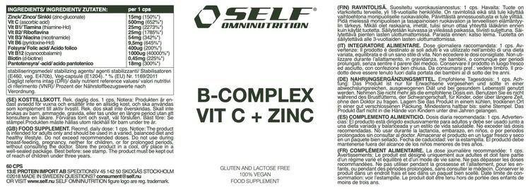 B-Complex Vitamin C + Zinc, 60cps