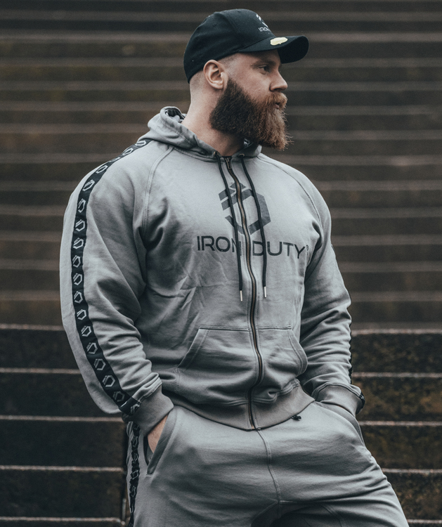 Iron Duty Loki Zip-Hoodie, Retro grey