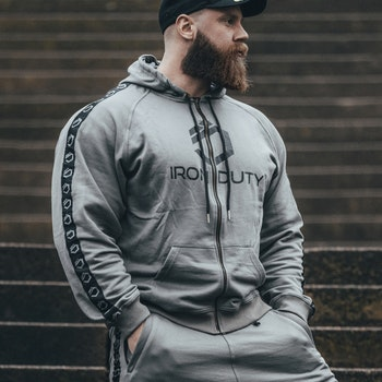 Iron Duty Loki Zip-Hoodie, Retro grey