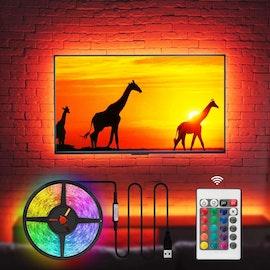 LED list backlight med fjärrkontroll. 5 meter självhäftande led slinga
