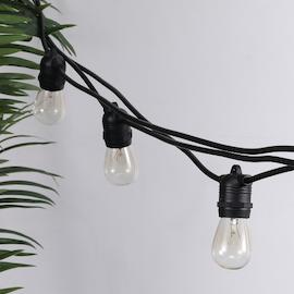 Utebelysning 15 utbytbara lampor - 14,4 meters ljusslinga utomhus