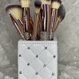 12 Lyxiga Sminkborstar i set i förvaringsask - Luxury Edition
