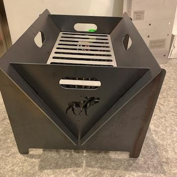 Sammenleggbar bålpanne/grill cortenstål 3mm m/motiv