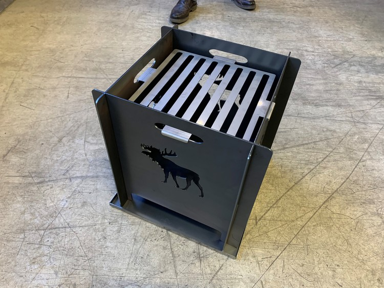 Middel Boy Sammenleggbar bålpanne/grill cortenstål 3mm m/motiv