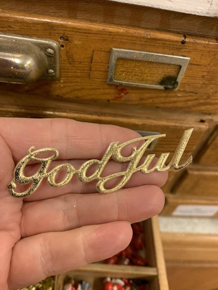 God Jul stickers i tyg guld