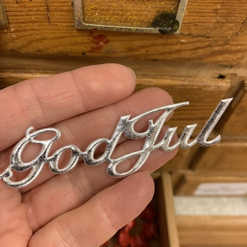 God Jul stickers silver tyg