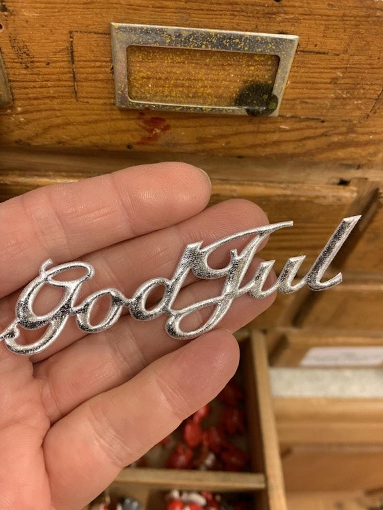 God Jul stickers silver tyg