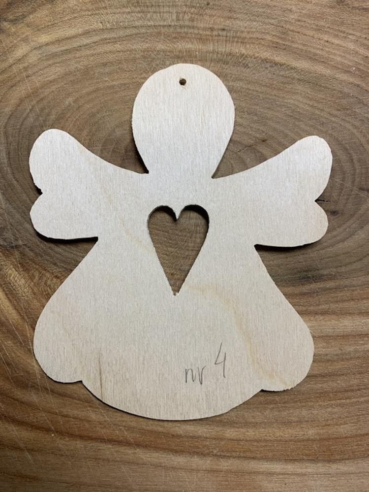 Trä-ängel nr 4, 10x12 cm, 3 mm
