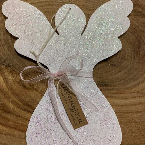 Trä-ängel målad vit med glitter