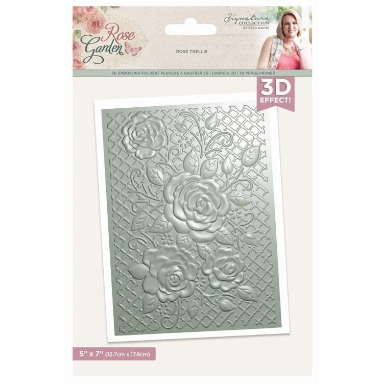 Sara Signature Rose Garden 3D Embossing Folder Rose Trellis (S-RGA-EF5-3D-RT)