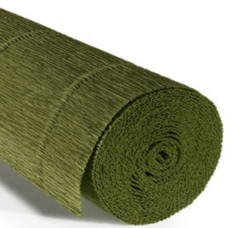 COD. 622 CREPE PAPER Gr.180  Olive Green whit yellow