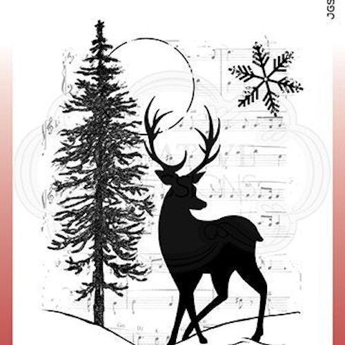 """Woodware Clearstamp """"Musical Deer"""" JGS727"""