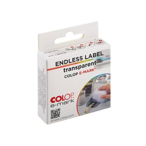 Colop e-mark, Etikett på rulle Transparent 14 mm x 8 m PET