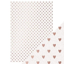 Tonic/Craft Perfect - Foiled Kraft Card - Rose Gold Hearts
