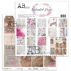 """Enchanted flowers""- scrapbooking paper set 8x 12'x12' ..."