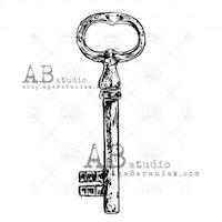 """Stämpel """"vintage key"""" ID-710"""
