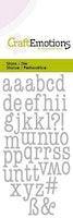 CraftEmotions Die - lowercase alphabet typewriter