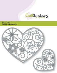 CraftEmotions Die - hearts with crystal ornament 2x