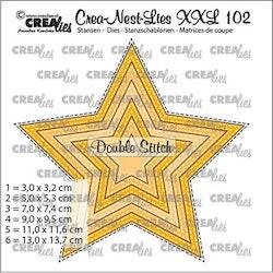 Crealies Crea-nest-dies XXL Star with double stitchline (6x)