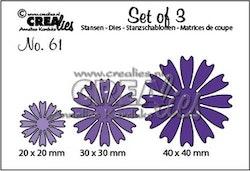 Crealies Set of 3 no. 61 solid Flowers 26