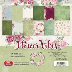 """Craft&You Flower Vibes small paper pad 6x6"""" 36 sht"""