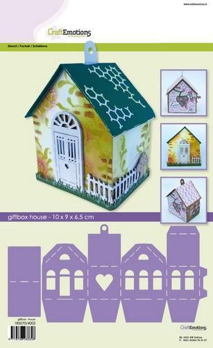 CraftEmotions stencil- giftbox - house 10x9,0x6,5cm