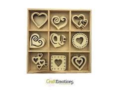 CraftEmotions Wooden ornament box - hearts 45 pcs