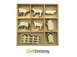 CraftEmotions Wooden ornament box - cow 40 pcs