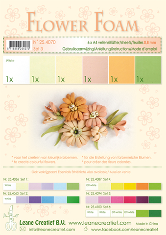 "Leane Flower Foam A4 0.8mm ""Assortment Set 3"" 6 ..."