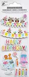 3D Stickers med Glitter Happy Birthday