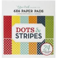 Echo Park Paper Pad 6X6 24/Pkg - Dots/Stripes Summer