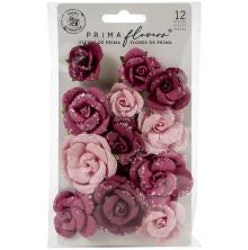 Prima Pretty Mosaic Mulberry Paper Flowers 12/Pkg - Red ...