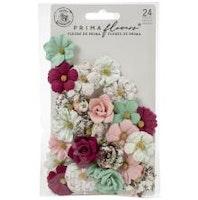Prima Pretty Mosaic Mulberry Paper Flowers 24/Pkg - Larimar