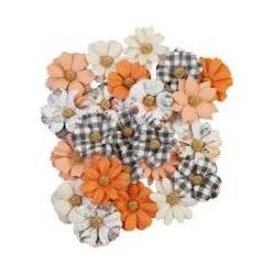 Prima Pumpkin & Spice Mulberry Paper Flowers 24/Pkg - ...