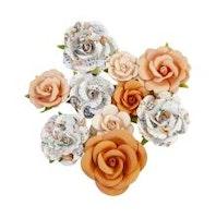 Prima Pumpkin & Spice Mulberry Paper Flowers 10/Pkg - ...
