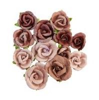 Prima Golden Desert Mulberry Paper Flowers 12/Pkg - Sahara