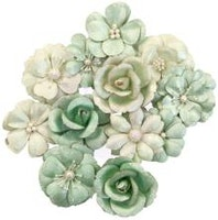 Prima Apricot Honey Mulberry Paper Flowers - Minty Basil
