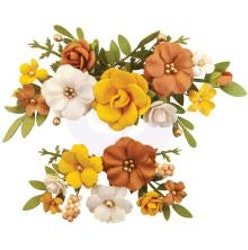 Prima Autumn Sunset Mulberry Paper Flowers - Falling Leaves