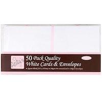 50 pack Kort & Kuvert  - vita  -13,5 x 13,5
