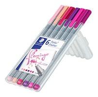 Staedtler triplus fineliner - Box 6 pc flamingo colours