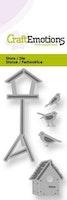CraftEmotions Die - Fåglar & fågelhus Card 5x10cm
