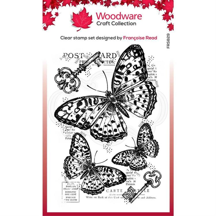 """Woodware Clearstamp """"Three Butterflies"""""""