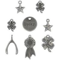 Tim Holtz Idea-Ology Metal Adornments 8/Pkg - Lucky