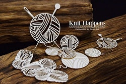 Chipboard - Knit Happens – Balls of wool – set
