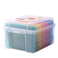 Transparent storage box with 6 colourful cases