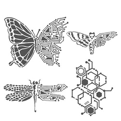 The Crafter's Workshop Nature's Circuitry 6x6 Inch Stencil