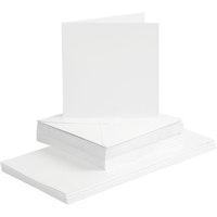 50 Kort &  Kuvert 15cm x 15cm - vita